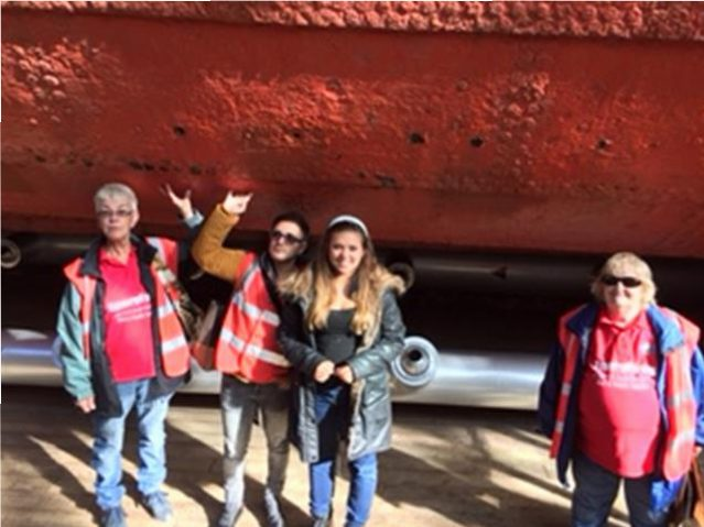 Marie, Rob, Hayley & Jackie underneath the hull