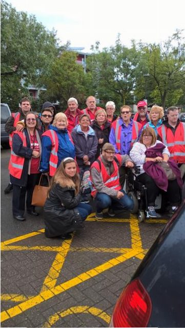 Steve, Sheena, Rob, Jackie, Spud, June, Phillip, Julie, Marie, Kym, Andy, Aileen, Andrew, Hayley, Alan and Donna, our new member and his wife, in the Car park at SS Great Britain.