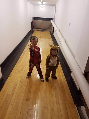 Max and Sam on the skittle alley at The Regency Inn