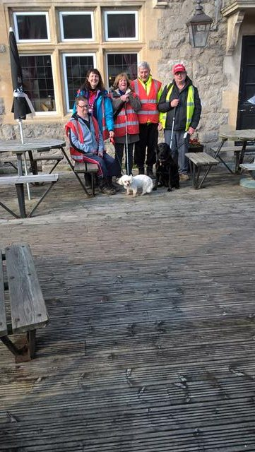 ANDREW, CLARE, POPPY, JEAN, ERNEST, ORLA & SPUD OUTSIDE THE OLD INN AT HUTTON.