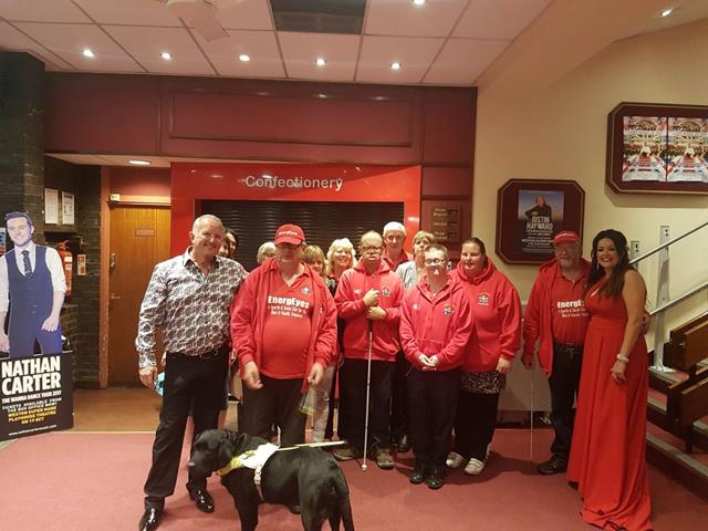 PHIL ALDRIDGE AND CLAIRE FURLEY WITH MEMBERS OF ENERGEYES AFTER THE WONDERFUL PERFORMANCE AT THE WESTON-SUPER-MARE PLAYHOUSE.