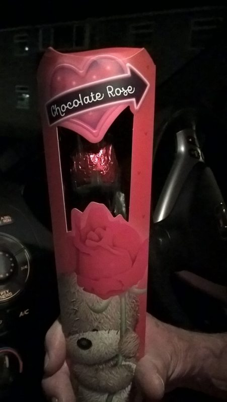 A Valentines Day chocolate rose from John and Julie. All the ladies were given one and the men had lollypops!!