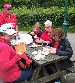 Slideshow: Lunch at St. Fagans 2016. Stood, Andy, sitting, Su Camper, Julie, Marie and Jean.