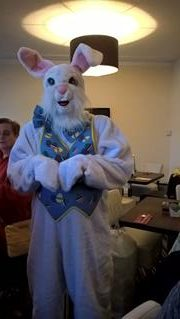 EASTER BUNNY WITH JAYNE IN THE BACKGROUND