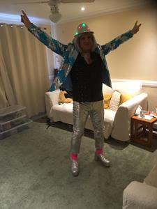 John Alexander in his Abba outfit ready for the BIG event! Get those platforms, WOW!!