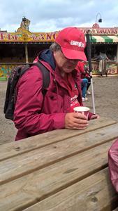 Ernest enjoying his hot chocolate.