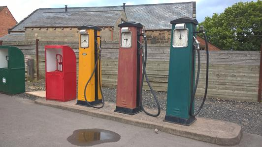 Petrol pumps outside Broome's Garage.