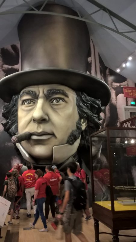 An eight-metre high head of Isambard Kingdom Brunel at one end of the gallery in the museum Being Brunel.