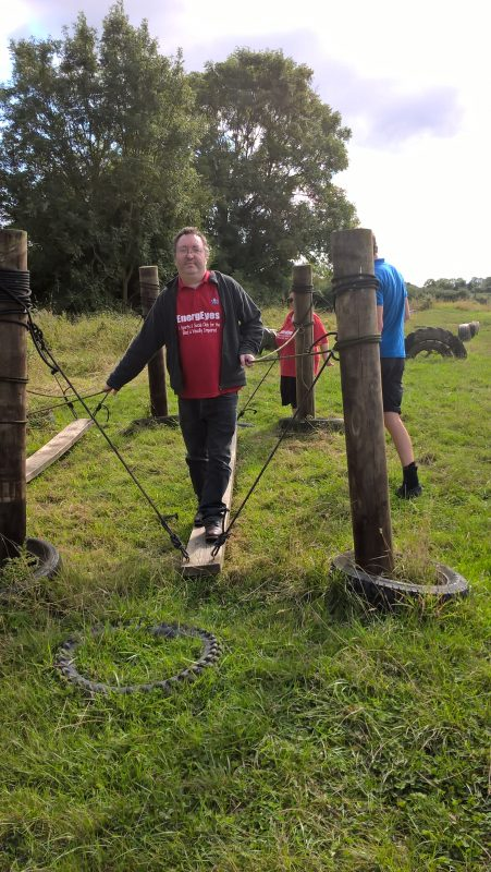 DANIEL TRYING OUT SOME OF THE CHALLENGES ON THE ASSAULT COURSE AT HEWISH. ENERGEYES ARE PLANNING TO BOOK THIS EVENT NEXT YEAR.