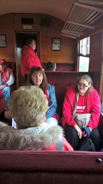 PHOTOS TAKEN ON THE STEAM TRAIN, PAIGNTON TO KINGSWEAR. CLARE, KIMBY, MARGARET, MICHELLE & JOHN IN THE BACKGROUND