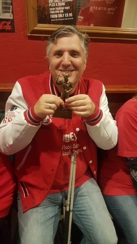 JOHN WITH HIS DARTS TROPHY 3RD OCTOBER 2018