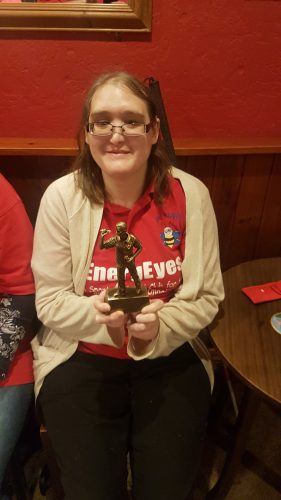KIMBY WITH HER TROPHY FROM DARTS 3RD OCTOBER 2018