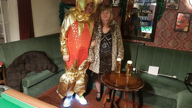OUR JOHN AGAIN AS A CHRISTMAS CRACKER AT THE RED ADMIRAL PUB, WESTON-SUPER-MARE