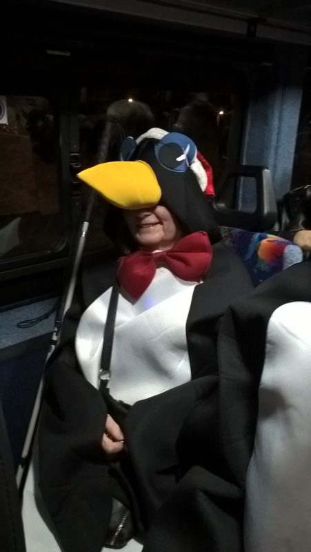 JULIE THE PENGUIN ON THE MINI BUS
