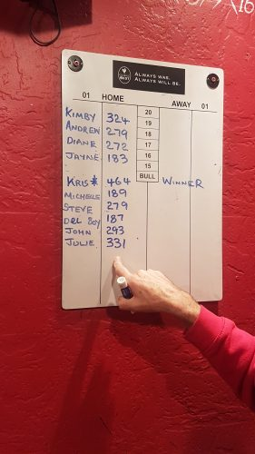 SCORE BOARD, CHRIS'S HIGHEST SCORE & JULIE'S HIGHEST LADIES SCORE. THE FINGER BELONGS TO SPUD!!