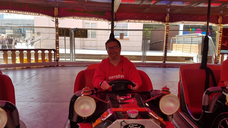 Andrew at The Dodgems ride at Funderworld Theme Park, Bristol. The group visited here after the show at the Hippodrome.