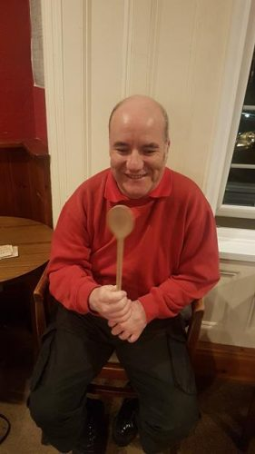 STEVE WITH THE WOODEN SPOON. HE LOOKS QUITE HAPPY THOUGH
