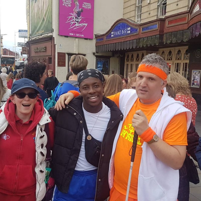 JOY, JAMAL AND JOHN OUTSIDE THE BRISTOL HIPPODROME AFTER THE PERFORMANCE.
