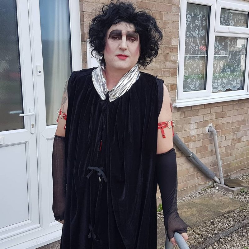 JOHN READY FOR HIS ADVENTURE. HE LOOKS GREAT AS A LADY......