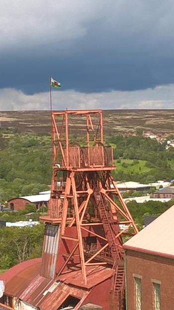 VIEW OF BIG PIT FROM HILL NEAR THE RESTAURANT. IT HAD STOPPED RAINING......