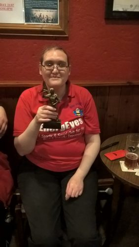 KIMBY, LADIES TOP SCORER HOLDING OUR DARTS TROPHY