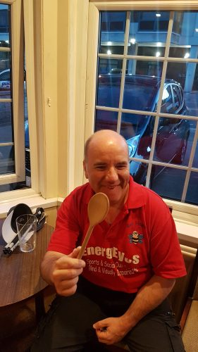 STEVE RECEIVED THE WOODEN SPOON