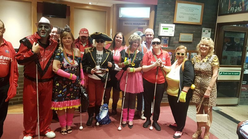 GROUP PHOTO. LEFT TO RIGHT - JAMES, ALMOST, JOHN, DANIEL, JULIE, ERNEST, DIANE, MICHELLE, JEAN, SU, SPUD, KIMBY, JAYNE AND AILEEN. ALL IN OUR THEMED GEAR FOR THE NIGHT.