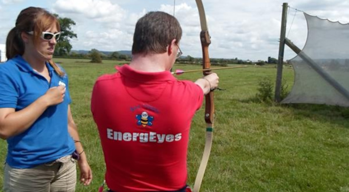 Slideshow: Archery at Hewish, Weston-super-Mare, August 2014. Andrew trying to hit the balloons with advice from Naomi.